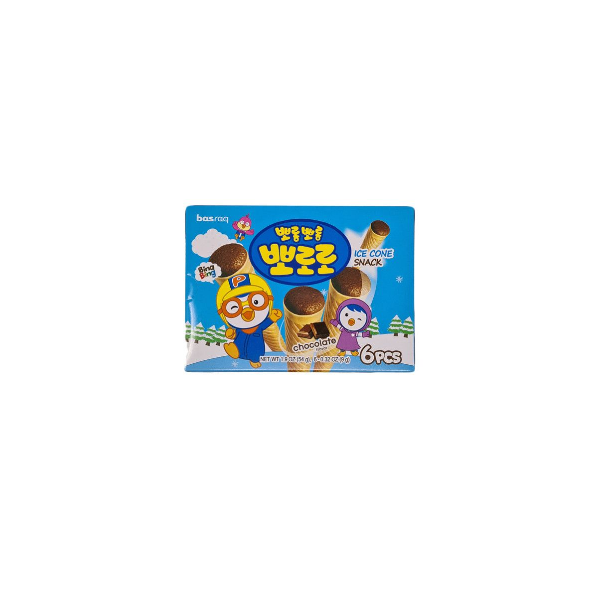 LOTTE  PORORO Ice cone Snack – Chocolate 54g 1