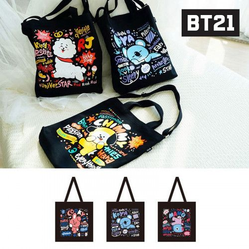 BT21-BTS BLACK Ecobag - Koya/Cooky/Mang 1