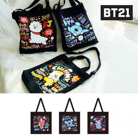 BT21/BTS 블랙 에코백- 코야/쿠키/망 1