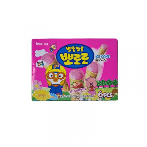 LOTTE  PORORO Ice cone Snack – strawberry 54g 1
